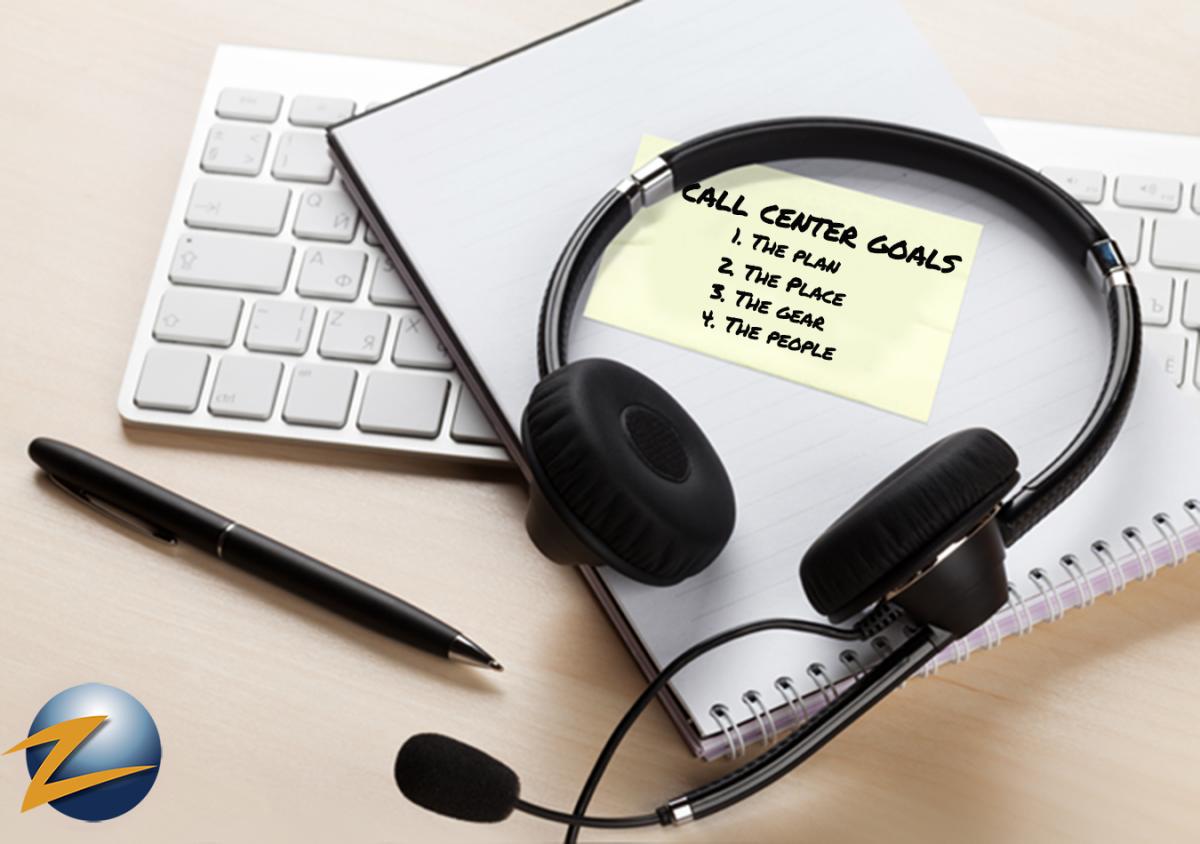 call center support headset on desk